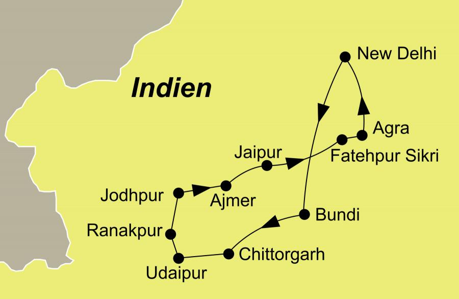 Der Reiseverlauf zu unserer Indien Reise Rajasthan & Nordindien - Reisen mit Puskar Fest startet und endet in Delhi.