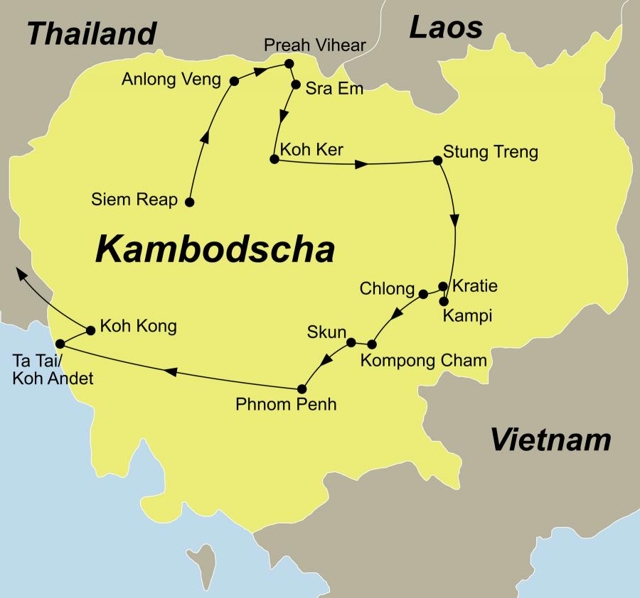 Die Kambodscha Rundreise führt von Siem Reap über Anlong Veng, Preah Vihear, Sra Em, Koh Ker, Stung Treng, Sambo, Kampi, Kratie, Chlong, Kampong Cham, Skun, Phnom Penh, Ta Tai, Koh Andet, Koh Kong nach Thailand.