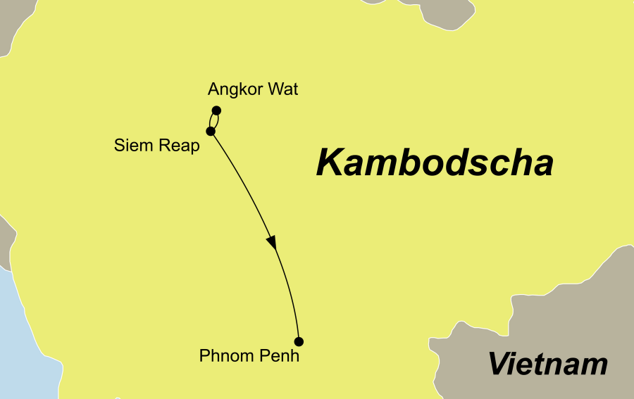 Die Kambodscha Rundreise führt von Siem Reap nach Phnom Penh.
