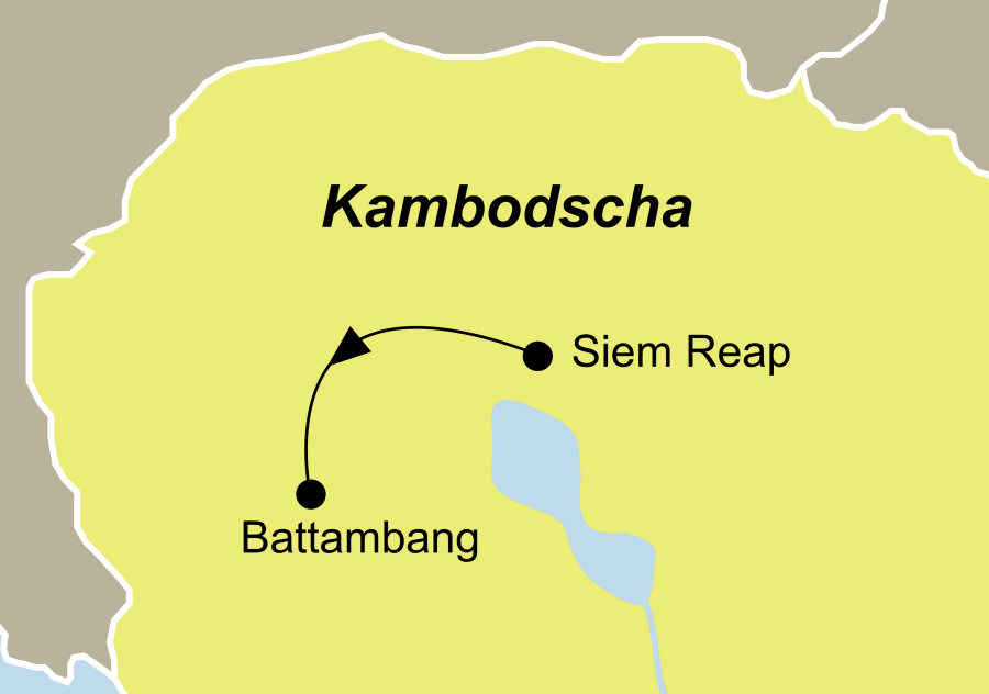 Die Kambodscha Rundreise führt von Siem Reap nach Battambang.