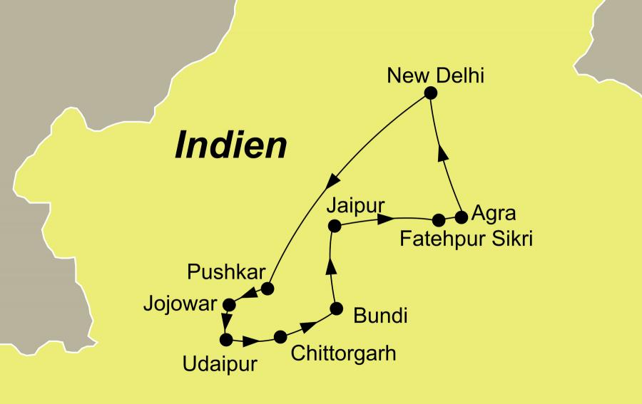 Der Reiseverlauf zu unserer Indien Reise Erlebnis Rajasthan und Taj Mahal startet und endet in Delhi.