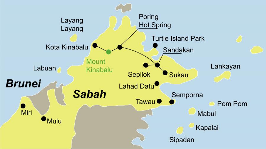 Die Malaysia Rundreise führt von Kota Kinabalu über die Poring Hot Springs, den Kinabalu Nationalpark, das Sepilok Orang-Utan Rehabilitationszentrum und Abai mit Abai Jungle Lodge nach Sandakan.