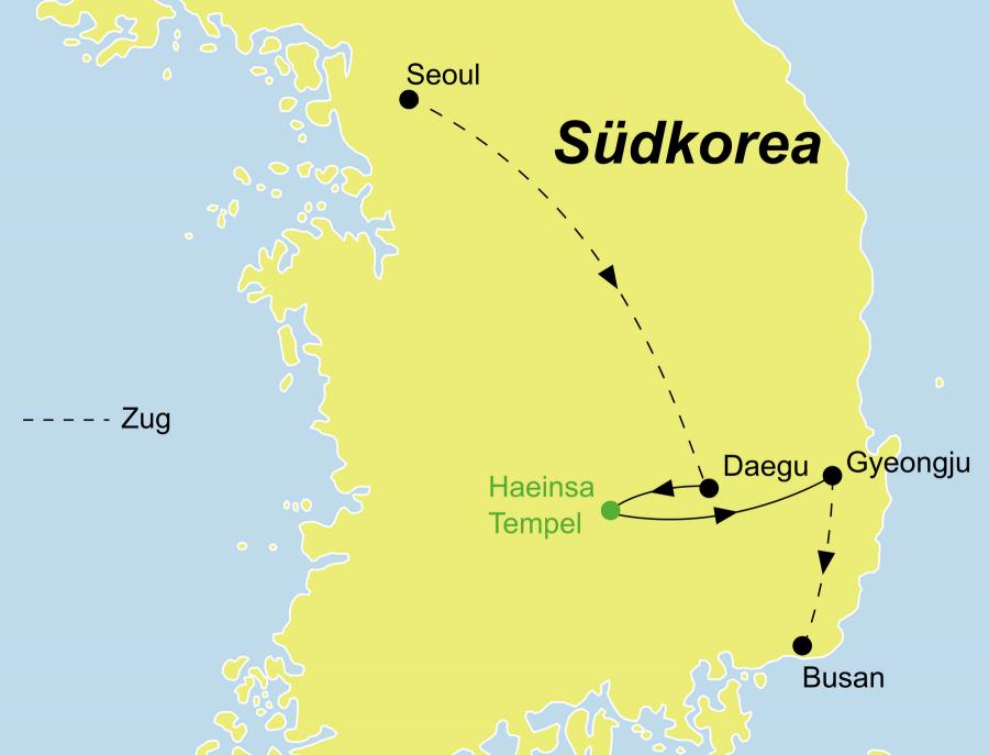 Die Korea Rundreise führt von Seoul nach Busan.