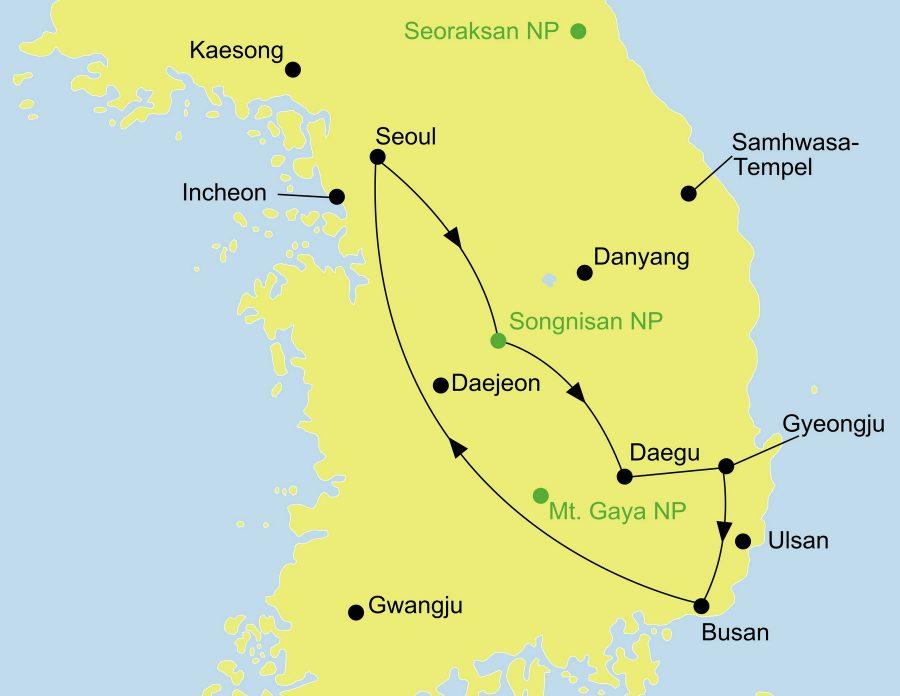 Die Korea Rundreise führt von Seoul über den Songnisan Nationalpark, Gyeongju und Busan wieder nach Seoul zurück oder zur Verlängerung auf die Insel Jeju.