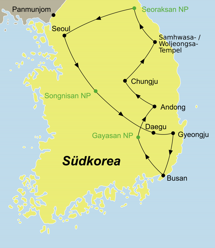 Die Korea Rundreise führt von Seoul über Daegu, Gyeongju, Busan, Andong, Chungju wieder nach Seoul .