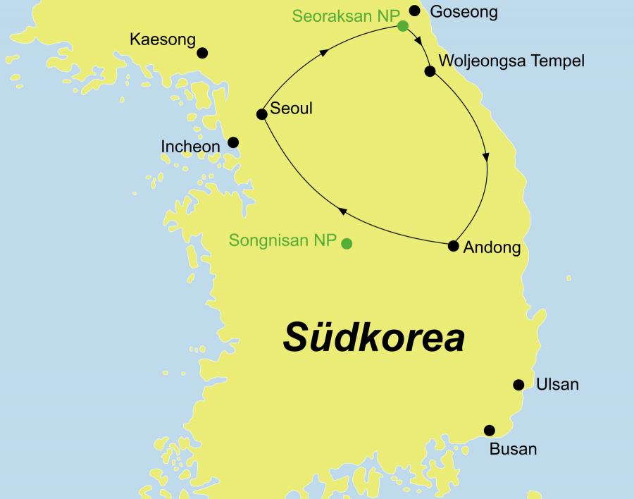 Die Korea Rundreise führt von Seoul über den Seoraksan Nationalpark, den Woljeongsa Tempel und Andong wieder zurück nach Seoul.