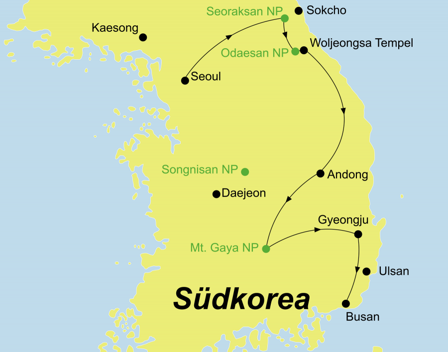Die Korea Rundreise führt von Seoul über Mt. Seorak, Mt. Odaesan, Andong, Mt. Gayasan, Gyeongju nach Busan.