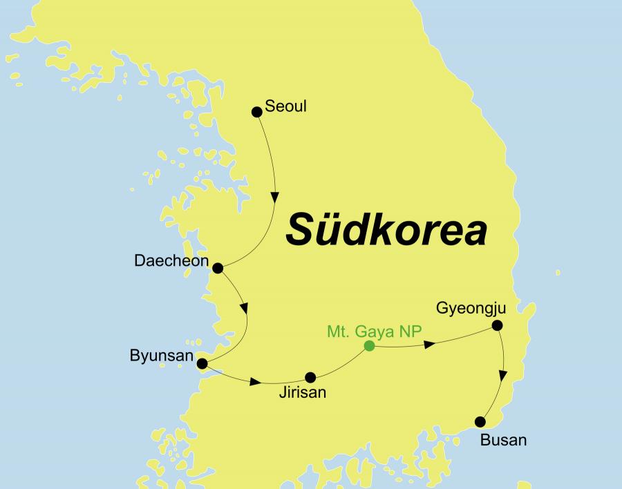Die Korea Mietwagen Tour führt von Seoul über Daecheon, Byunsan, Mt. Jirisan, Mt. Gayasan Nationalpark, Gyeongju nach Busan.
