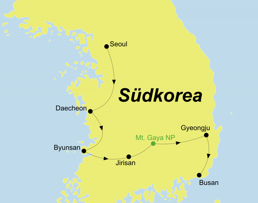 Die Korea Rundreise führt von Seoul über Daecheon, Byunsan, Mt. Jirisan, Mt. Gayasan Nationalpark, Gyeongju nach Busan.