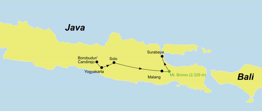 Die Java Rundreise fürht von Yogyakarta über Solo, Malang, Mount Bromo nach Surabaya.