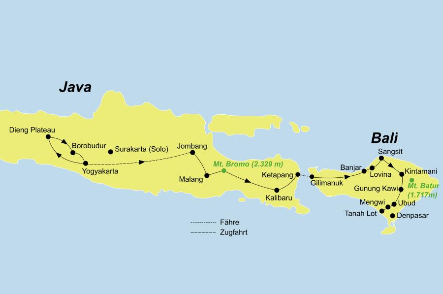 Der Reiseverlauf zu unserer Indonesien Reise Impressionen Java und Bali startet in Yogyakarta und endet in Tanah Lot.