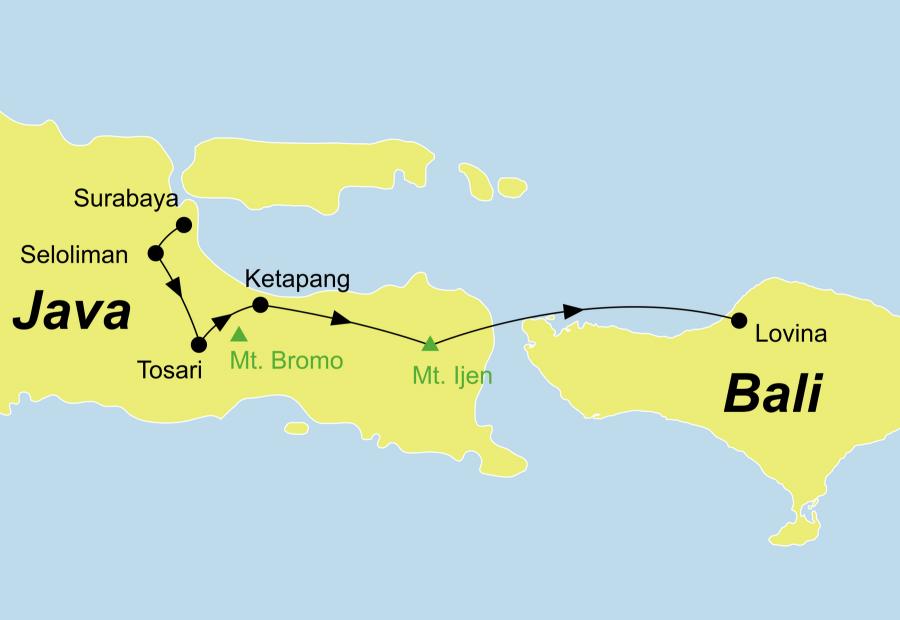 Die Java Rundreise führt von Surabaya über Seloliman, Mount Bromo, Baluran Nationalpark, Ketapang, Mount Ijen nach Nordbali.