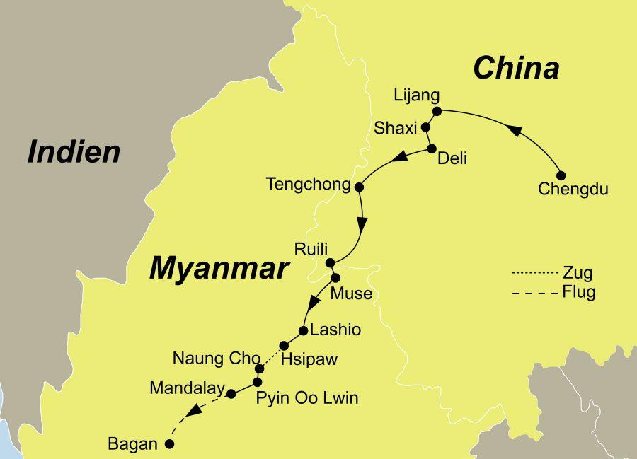 Die China Myanmar Rundreise führt von Chengdu über Lijiang, Shaxi, Dali, Old Burma Road, Tengchong, Ruili, Muse, Lashio, Hsipaw, Kyauk Me, Naung Cho, Pyin Oo Lwin, Mandalay, Amarapura, Sagaing nach Bagan.