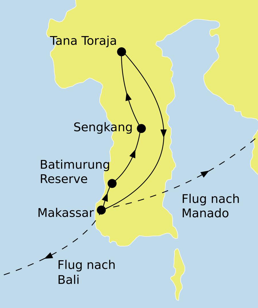Der Reiseverlauf zu unserer Indonesien Reise Sulawesi Erlebnisreise startet in Makassar und endet in Denpasar oder Manado.