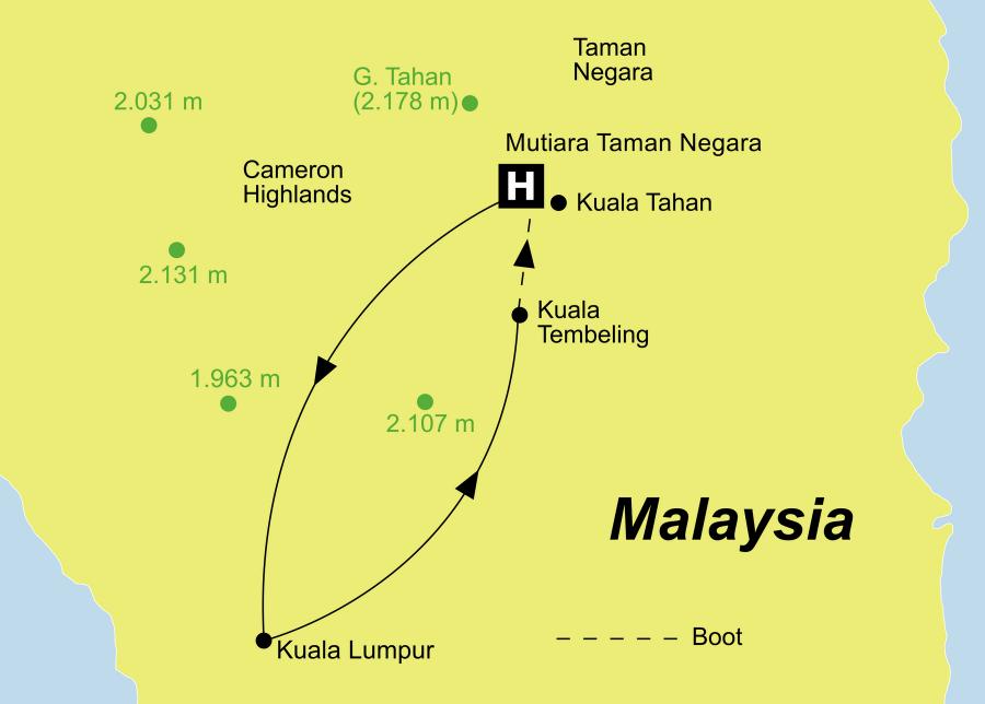 Die Malaysia Rundreise führt von Kuala Lumpur über Kuala Tembeling, den Taman Negara Nationalpark und Kuala Tahan wieder zurück nach Kota Kinabalu.