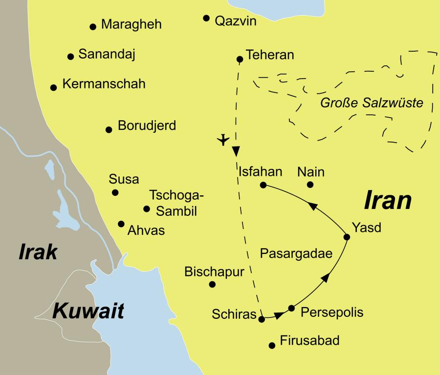 Die Iran Rundreise führt von Teheran über Shiraz, Persepolis, Yazd nach Isfahan.