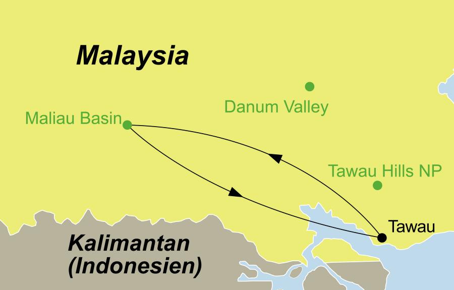 Die Borneo Rundreise führt von Tawau, das Maliau Basin, das Agathis Camp, das Nepenthes Camp und das Ginseng Camp wieder zürück nach Tawau.