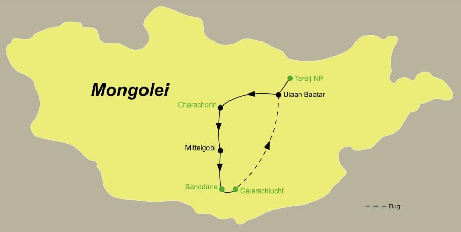 Die Mongolei Rundreise führt von Ulaan Baatar über Charchorin, Wüste Gobi zurück nach Ulaan Baatar.