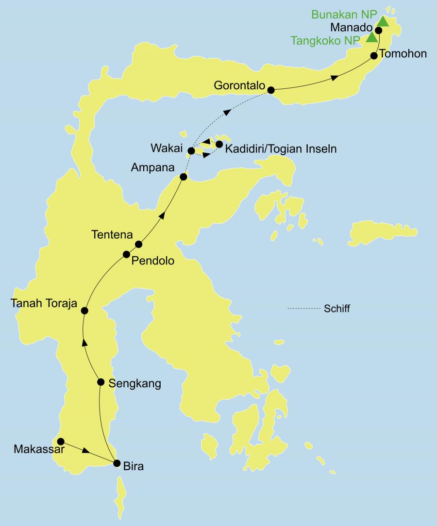 Die Sulawesi Rundreise führt von Makassar über Tanaberu, Bira, Kajang, Sengkang, Toraja Land , Tentena, Ampana, Togian Inseln, Gorontalo, Tomohon, Tangkoko Nationalpark nach Manado.