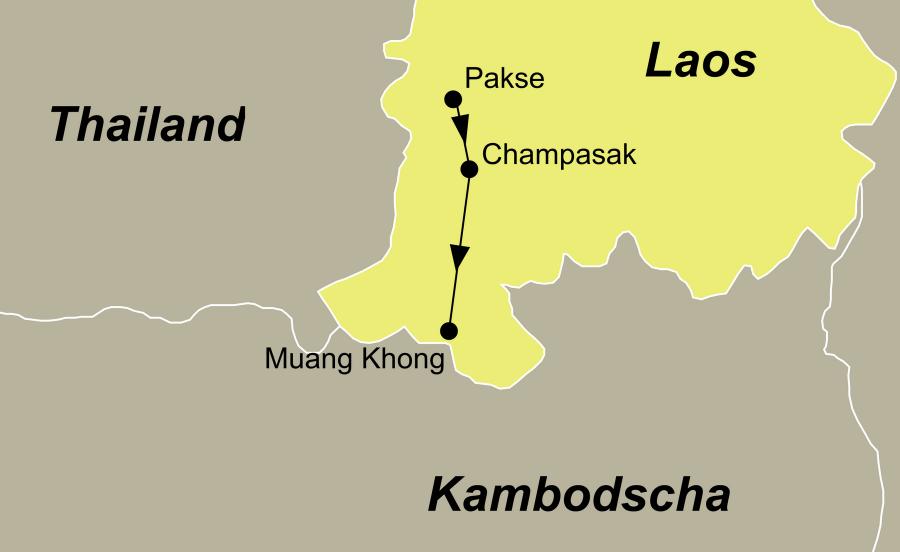 Die Laos Rundreise fürht von Pakse aus den Mekong Fluss entlang.