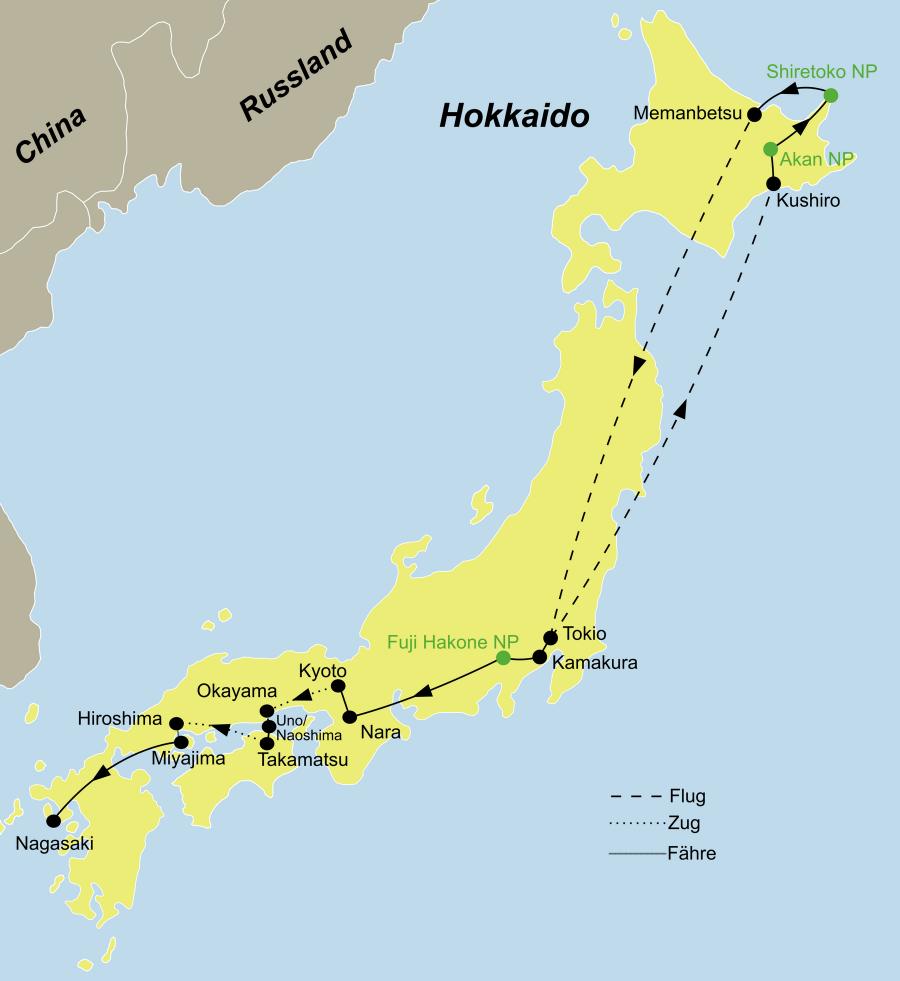 Der Reiseverlauf zu unserer Japan Reise Japan 4 Inseln startet und endet in Tokio.