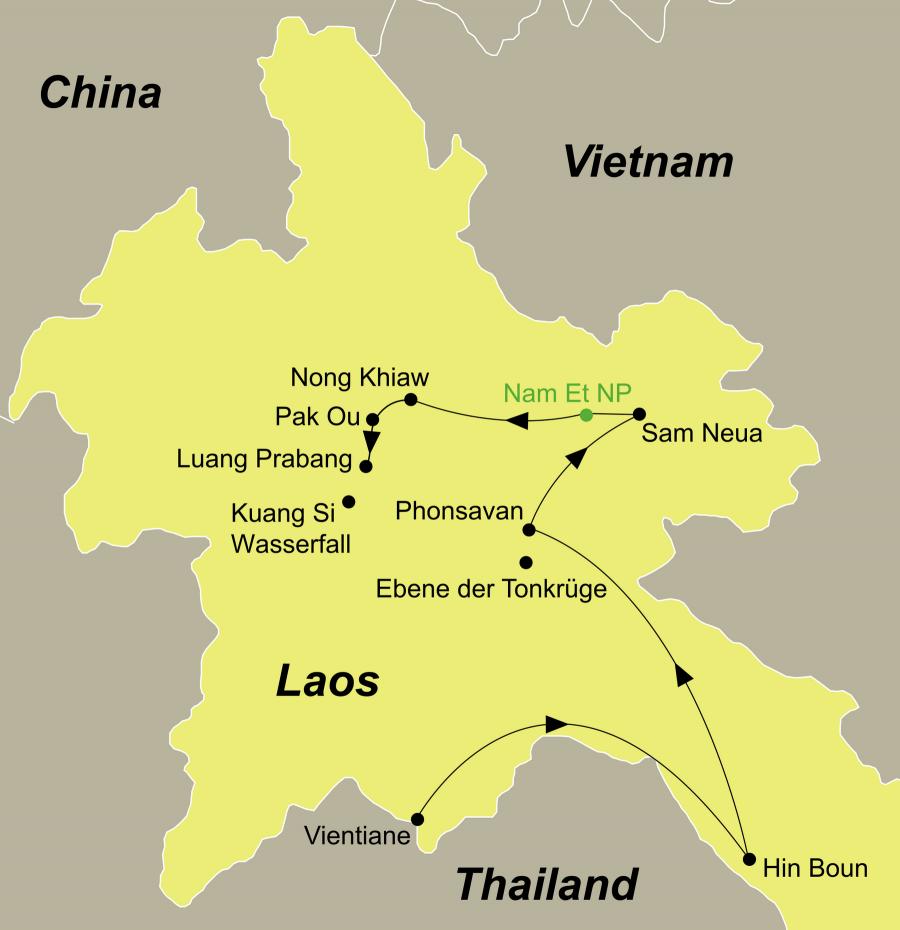 Die Laos Rundreise führt von Vientiane über Prabaht Ponsan, Hin Boun, Kong Lor Höhle, Ban Thabuk, Phonsavan, Ebene der Tonkrüge, Sam Neua, Vieng Xay, Nam Et Nationalpark inkl. Nachtsafari, Nong Khiaw, Pak Ou Höhlen nach Luang Prabang.