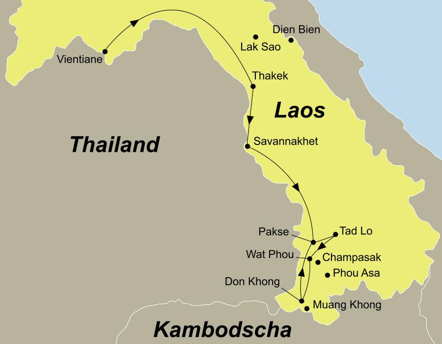 Die Laos Rundreise führt von Vientiane über Prabaht Ponsan, Ban Thabuk, Hin Boun, Kong Lor Höhle, Thakek, Savannakhet, Pakse, Bolaven Plateau, Tadlo, Champassak, Wat Phou, Don Daeng, Don Khone nach Pakse.