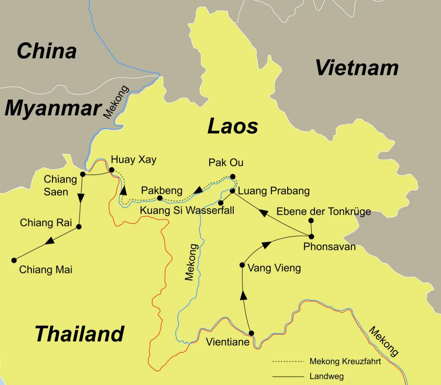 Der Reiseverlauf zu unserer Laos Reise startet in Vientiane und endet in Chiang Mai.