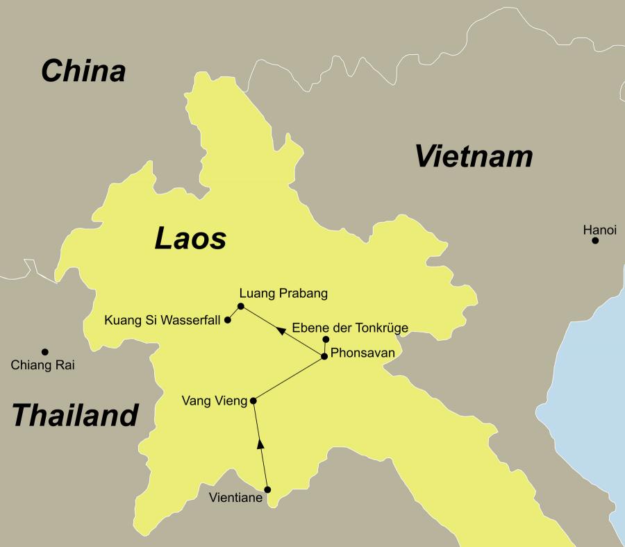 Die Laos Rundreise führt von Vientiane über Vang Vieng, Phonsavan, Ebene der Tonkrüge, Luang Prabang, Kuang Si Wasserfall, wieder nach Luang Prabang.