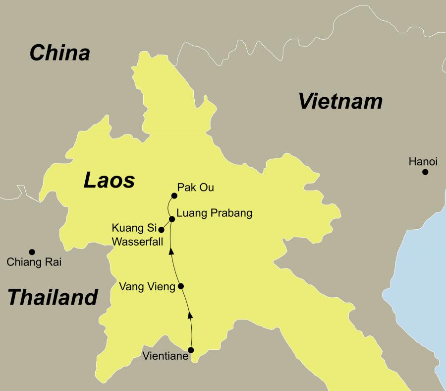 Die Laos Rundreise führt von Vientiane, Vang Vieng, Luang Prabang, Mekong, Pak Ou, Luang Prabang, Kuang Si,wieder nach Luang Prabang.