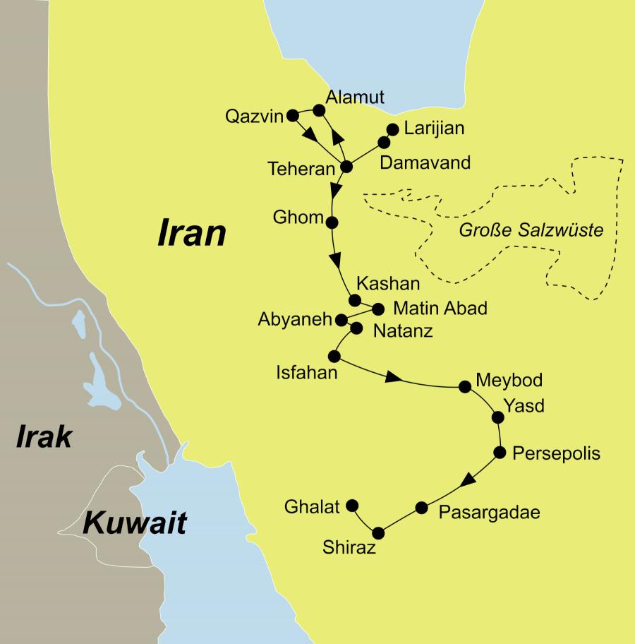 Die Reiseroute der Persien erleben Aktivreise beginnt inTeheran und endet in Shiraz.