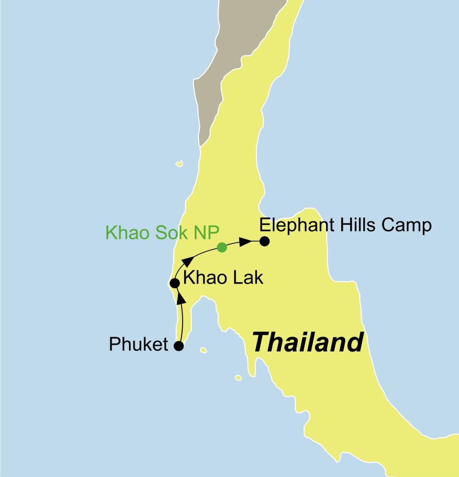 Elephant Hills Camp Thailand – Die Thailand Rundreise führt von Phuket oder Khaolak, über den Khao Sok Nationalpark zurück zum Ausgangspunkt.