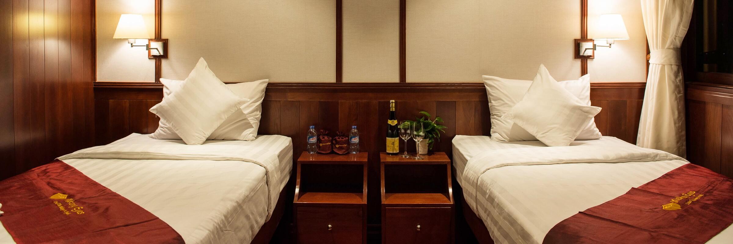 Die Mekong Eyes hat sowohl Zwei- als auch Doppelbettkabinen.