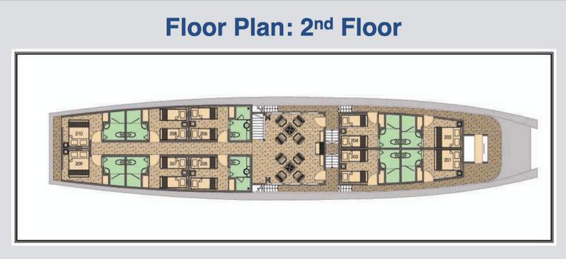 Der Deckplan der Mekong Eyes Classis für den 2. Stock