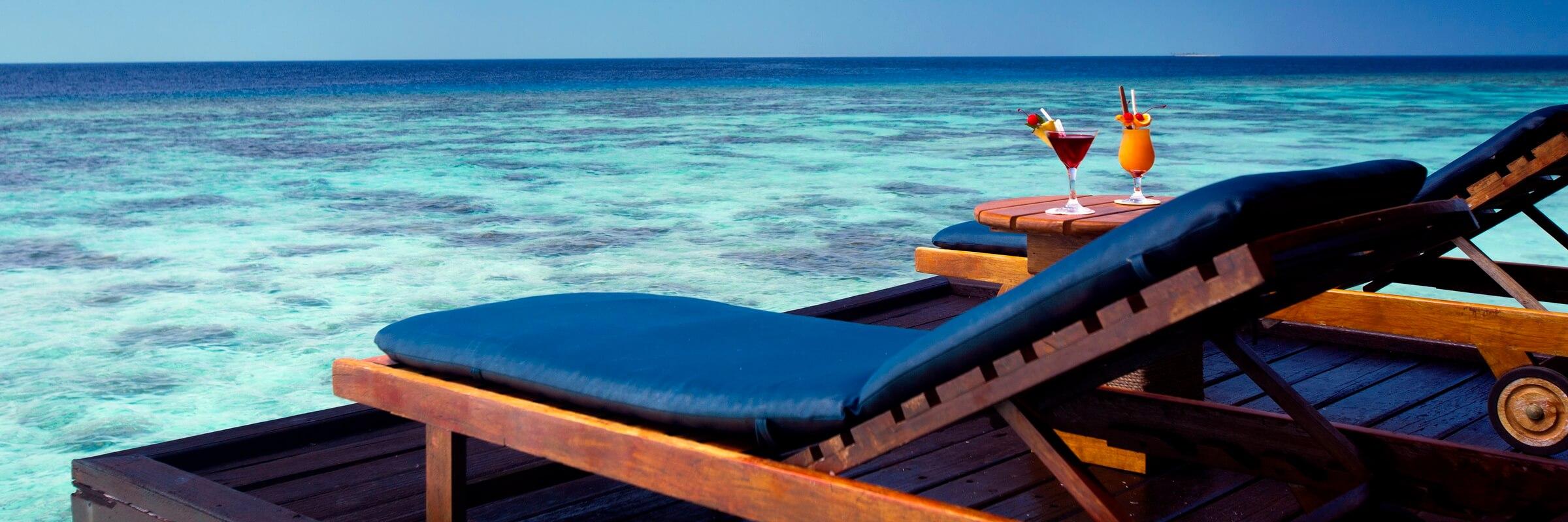 Die Water Villa Unterkünfte im Filitheyo Island Resort verfügen über einen 28 m² großen Außenbereich.