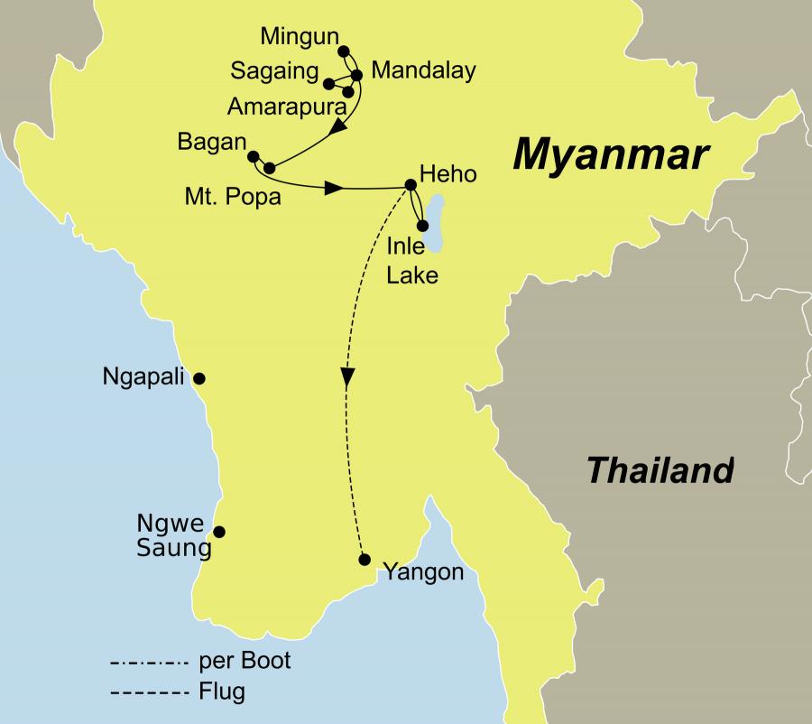 Die Best of Myanmar Rundreise führt von Mandalay über Mount Popa und Bagan nach Yangon