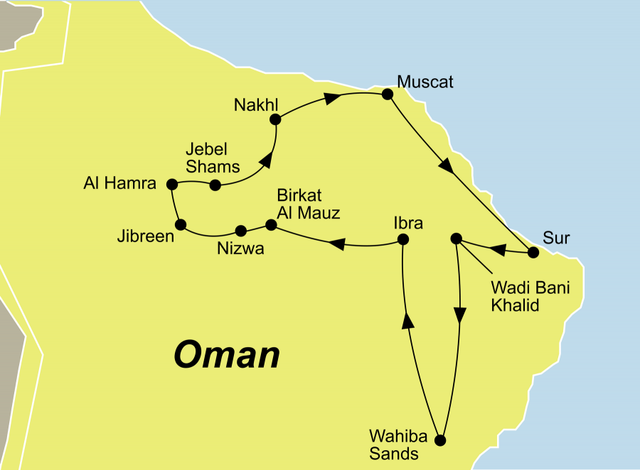 Der Reiseverlauf zu unserer Oman Reise startet in Muscat und endet in Muscat