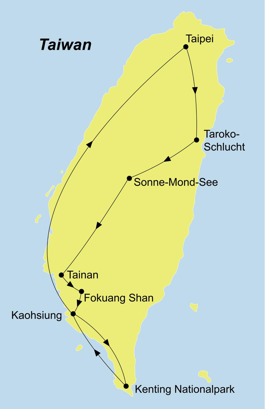 Die Best of Taiwan mit Kenting Nationalpark Rundreise führt von Taipeh über Taroko Nationalpark, Sonne-Mond-See, Tainan, Foguangshan Kloster, Kaohsiung, Kenting Nationalpark zurück nach Taipeh.