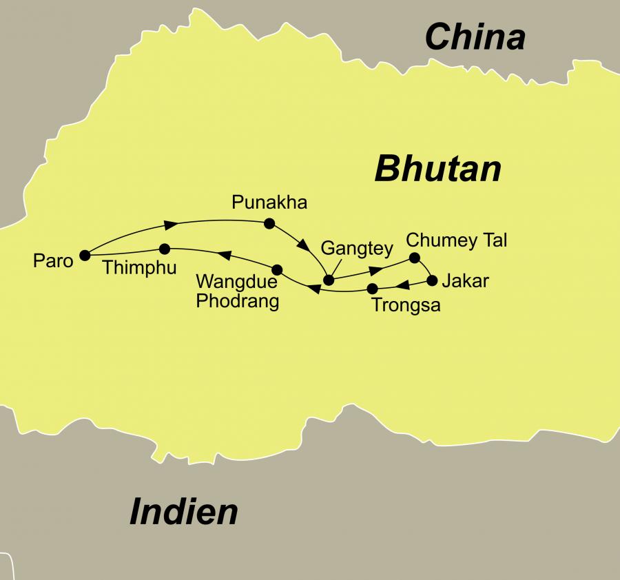 Die Bhutan Reise Tanz der Dämonen führt von Paro über Gangtey, Chumey und Trongsa zurück nach Paro.