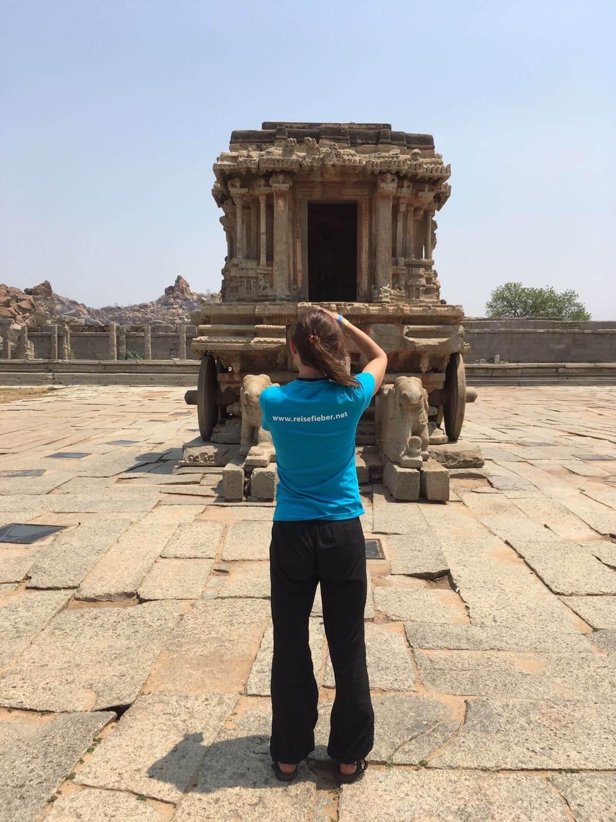 Vittala Tempel in Hampi, der Steinwagen zählt zu den meist fotografierten Motiven in Indien