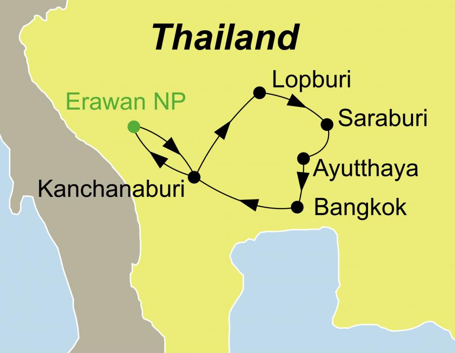 Der Reiseverlauf zu unserer Thailand Reise führt von Bangkok über Kanchanaburi – Erawan Nationalpark – Ayutthaya zurück nach Bangkok – (Baden Thailand)