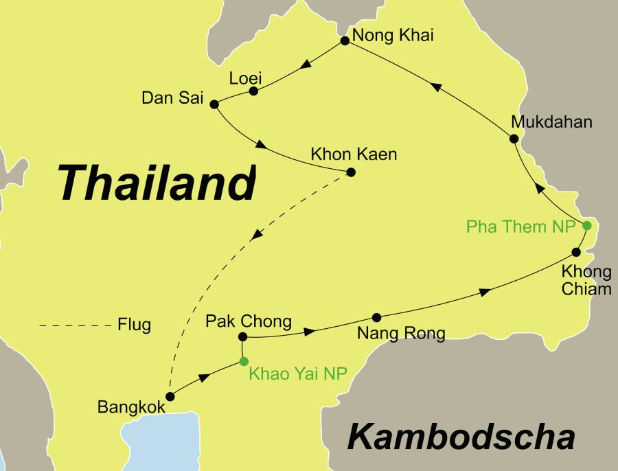 Die Reiseroute unsererIsaan Ostthailand Erlebnis-Rundreise führt von Bangkok über den Khao Yai Nationalpark, Pak Chong, Nang Rong, Khong Chiam, Mukdahan, Nong Khai, Loei, den Phu Luang Nationalpark und Dan Sai nach Khon Kaen.