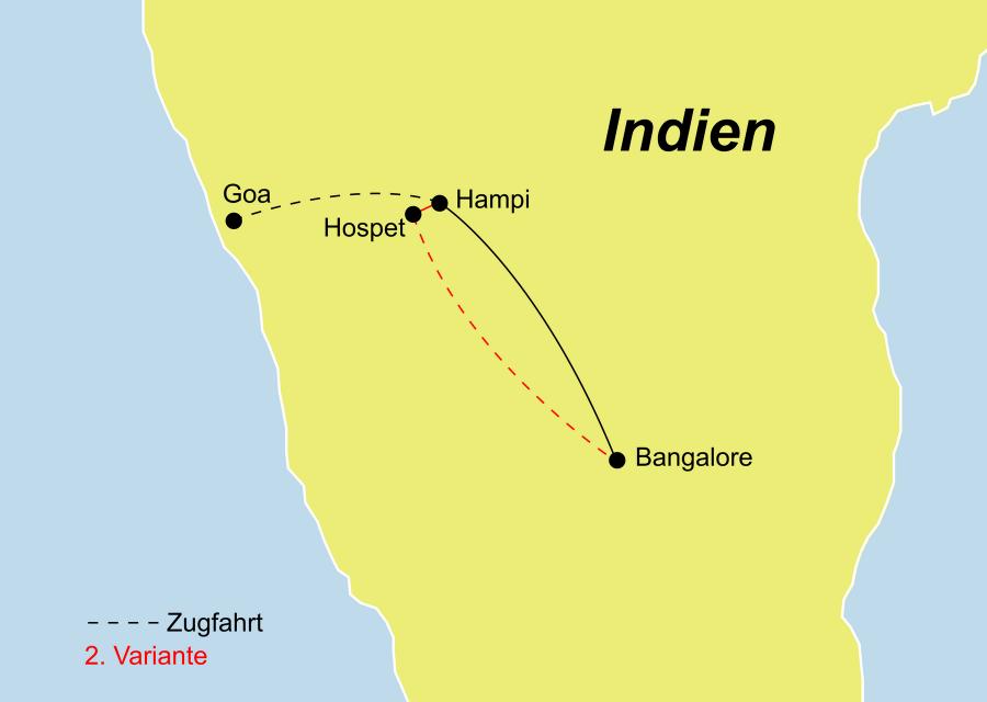 Die Indien Rundreise führt von Bangalore über Hospet – Hampi – Hospet nach Goa oder zurück nach Bangalore.