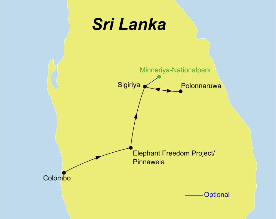 Die Elefanten und Kultur Rundreise führt von Colombo zum Elephant Freedom Project bis nach Sigiriya