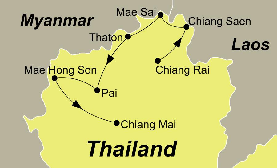 Die Thailand Rundreise führt von Chiang Rai über das Goldene Dreieck, Thaton, Pai und Mae Hong Son nach Chiang Mai.