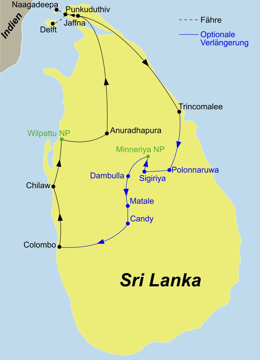 Die Erlebe Sri Lanka Rundreise führt von Colombo über die Westküste bis nach Jaffna und Trincomalee an der Ostküste