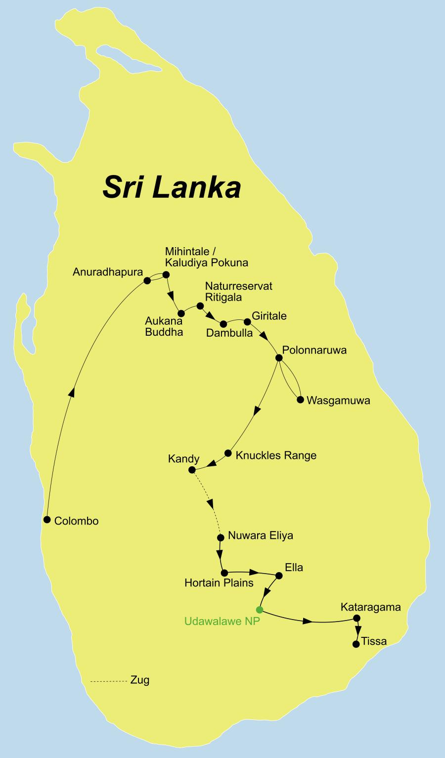 Die Sri Lanka Rundreise führt von Colombo nach Anuradhapura über Polonnaruwa und Kandy nach Elle und Tissa