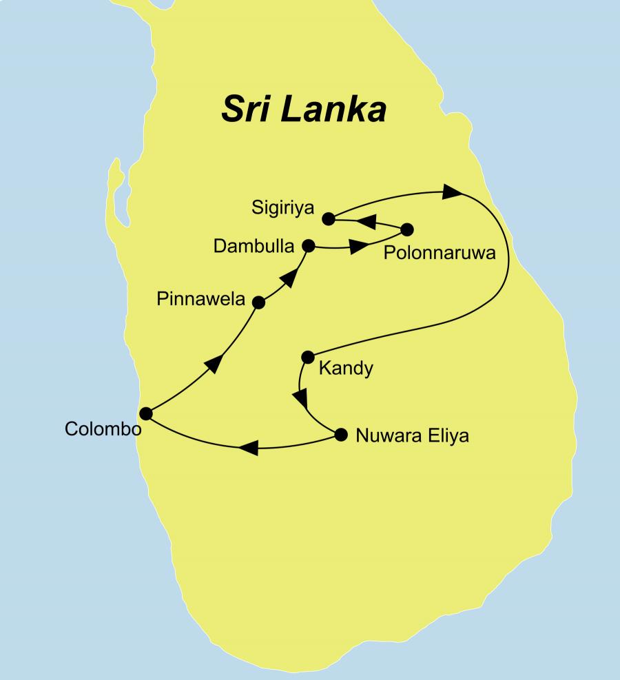 Die Reiseroute der Sri Lanka Rundreise der Garten ohne Jahreszeiten führt von Colombo, dem Elephant Freedom Project, Dambulla, Polonnaruwa, Sigiriya, Kandy und Nuwara Eliya zurück nach Colombo.