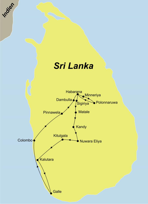 Die Höhepunkte Sri Lankas Rundreise führt von Colombo über Dambulla nach Sigiriya und Kandy bis an die Küste nach Galle