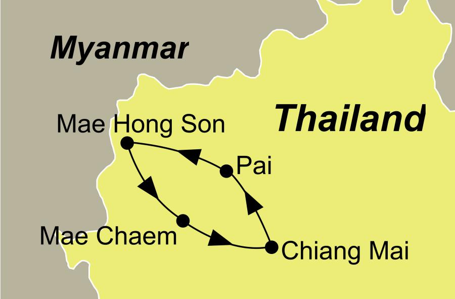 Die Thailand Rundreise führt von Chiang Mai über Pai, Mae Hong Son und Mae Chaem wieder zurück nach Chiang Mai.